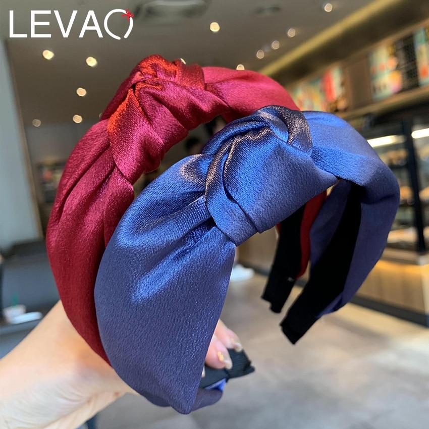 Повязка для волос Levao Женская атласная, однотонная лента с узлом, повседневный аксессуар на голову