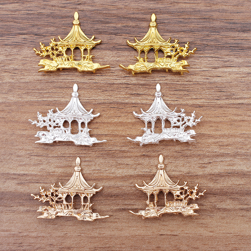 10 PCS 39*31mm Metal Alloy Pavilion DIY Jewelry Findings KC Gold/Gold/Silver Color Pavilion Connectors Charm For Jewelry Making