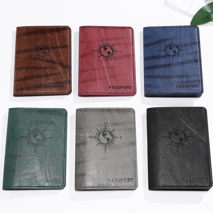 Earth Compass Travel PU Leather Passport Cover Case Women Men Travel Accessories Document ID Holder Travel Passport Holder CH07C