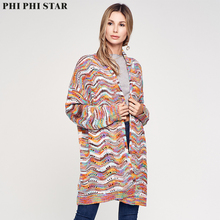 Phi Star Brand Womens knit sweater Long Sleeve Cardigans Hot Sale Coral Multi Striped