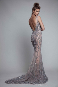 Image 2 - Illusion Crystal Sleeveless Floor Length Jewel Backless Mermaid Evening Dresses Luxurious Evening Gowns Sexy Prom Dresses
