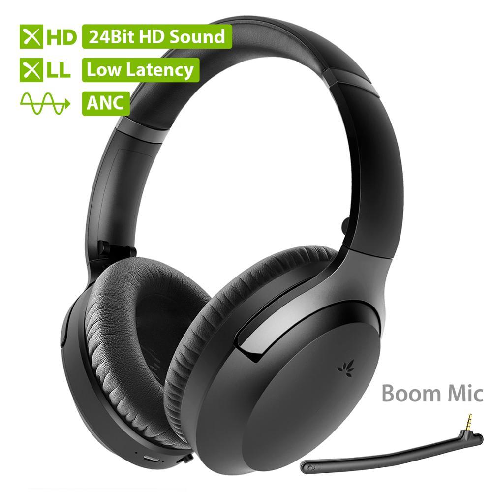Fone de Ouvido Cancelador de Ruído Aptx-hd sobre os Fones de Ouvido Boom para tv e pc Anc com Microfone Avantree Bluetooth Desmontável 5.0