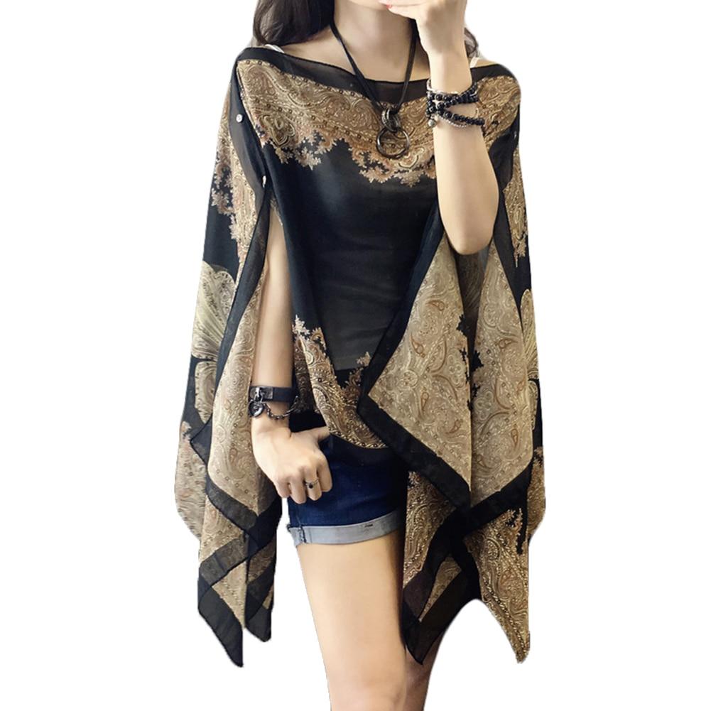 Summer Woman Plus Size Loose Shirts Cover Ups Scarf 10-color Chiffon Shawl Sunscreen Fabala Blouses Flower Sun Protection Shawl