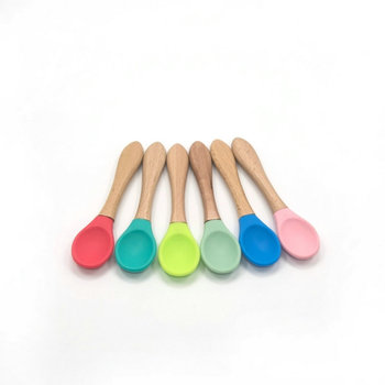 5PCS Baby Bamboo Training Spoons Organic Soft Feeding Silicone Tip Spoon Scoop Easy Grip Handle Toddlers Infant Gifts - discount item  50% OFF Feeding