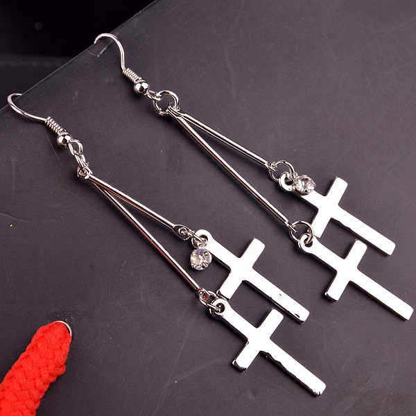 Cross Earrings Women Exaggeration Exaggerated Modern Metal Christian Chain Drop Dangle Earrings Vintage Statement New Classic