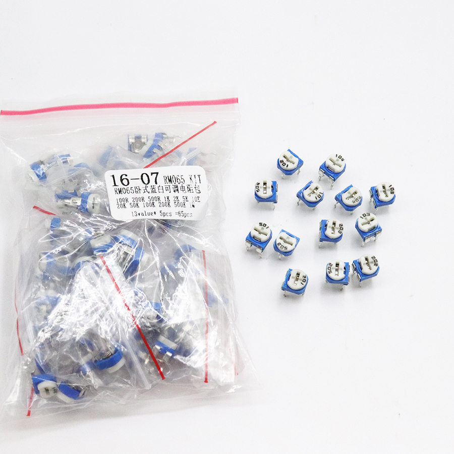 Trimming Potentiometer RM065 Top Adjustment 100R-1M RM065 WH06-2 Variable Resistors Assorted Kit 13Type*5pcs=65PCS  KIT