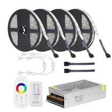 DC12V 5050 LED şerit RGB RGBW RGBWW 5M 10M 20M Set LED şerit 5050 RGB 60LEDs /m + dokunmatik uzaktan kumanda + 12V güç adaptörü