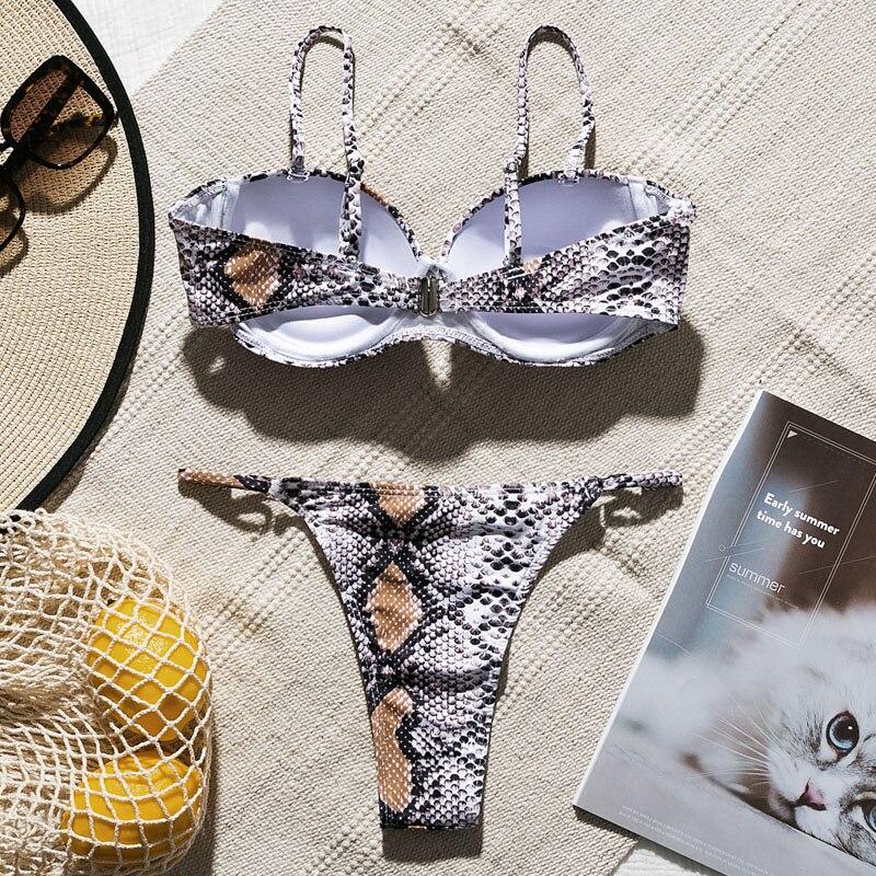 H7a41edd36fd542cdbb4cae1d1ad99be6W Snake print bikini Push up swimsuit female bathing suit String thong Brazilian bikini 2019 High cut swimwear women Sexy biquini
