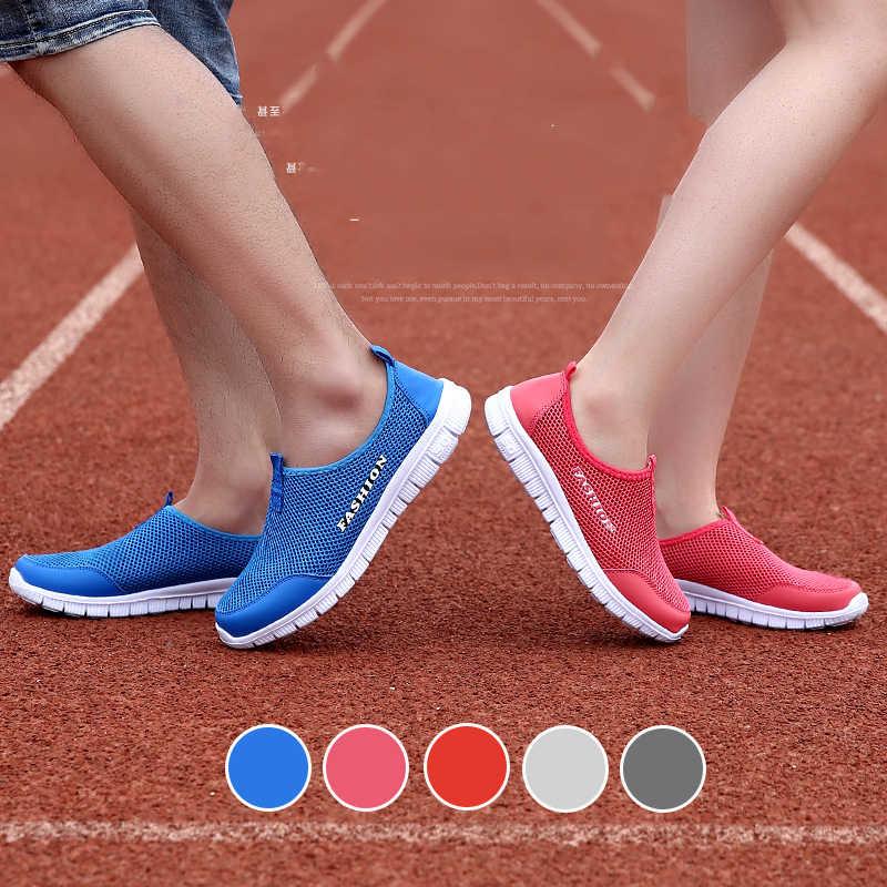 Yüksek Puality Unisex yaz erkek hafif ayakkabı örgü nefes erkekler Sneakers Casual moda erkek marka tasarım ayakkabı erkek ayakkabı