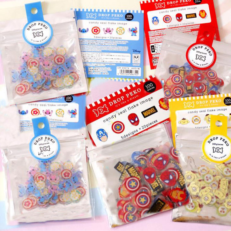 100 Pcs/pack Cartoon Candy Seal Flake Stitch Spiderman Pudding Dog PVC Stickers Decoration Index Stickers For Kids Toys Gifts