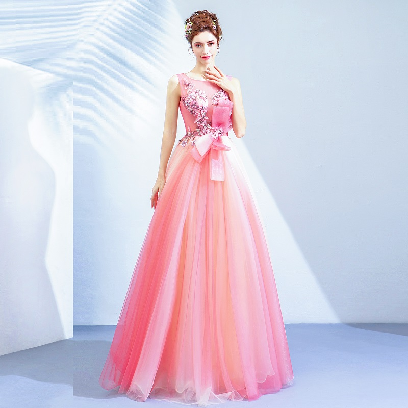 2020 Stunning Hot Pink Prom Dresses Pageant Gown Bowknot Front Lace Up Back Embroidery Applique Prom Dresses For Women