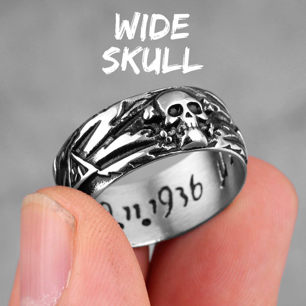 Stainless Steel Men Rings Domineering Skull Devil Punk Gothic HipHop Simple for Biker Male Boy Jewelry