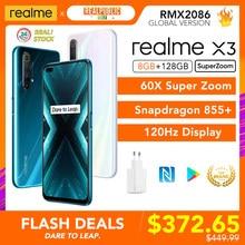 Realme için X3 SuperZoom küresel sürüm 8GB 128GB 60X süper Zoom Snapdragon 855 + 120Hz ekran 64MP dört kamera UFS 3.0 30W şarj