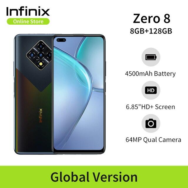 New Global Version Infinix Zero 8 8GB 128GB Smart Phone 6.85'' FHD 90Hz Full Screen 64MP Quad Camera 4500mAh Battery 33W Charger 1