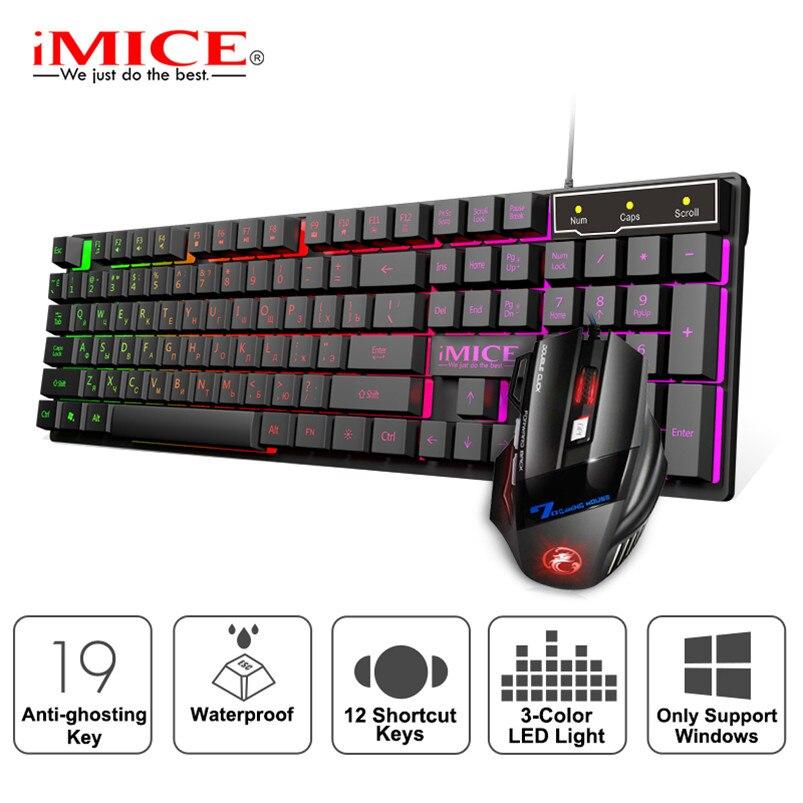 Oyun klavyesi kablolu oyun fare seti 104 Keycaps RGB arka işık ile rusça klavye oyun ergonomik sessiz fare dizüstü bilgisayar