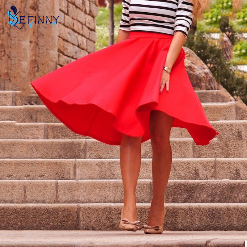 Vintage Women A-Line Stretch High Waist Skater Flared Pleated Swing Long Skirt