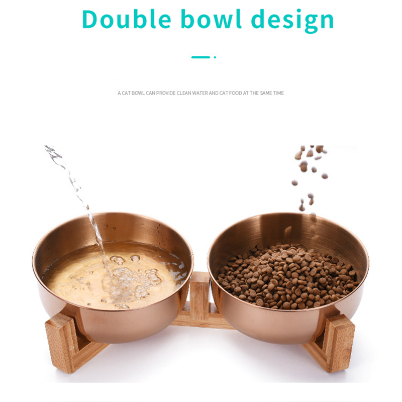 Stainless Steel Cat Dog Bowl with Wood Stand Pet Food and Water Dish Bowl for Cat Dogs Food Feeding Feeder Puppy Feeder Supplies