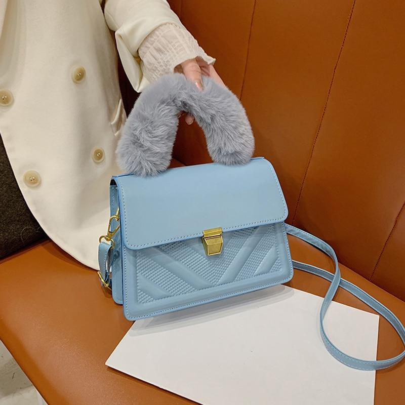 Luxury Handbags Designer Shoulder Bags for Women Plush Handle Crossbody Bags PU Leather Flap Small Tote Bag|Shoulder Bags| - AliExpress