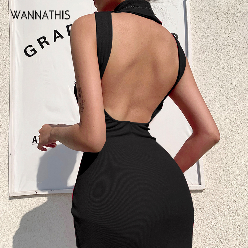 WannaThis Blackless Sexy Bodycon Dress Women Summer Sleeveless Skinny Elastic RHight Neck Knee Ribbed Knitted Length Party Dress