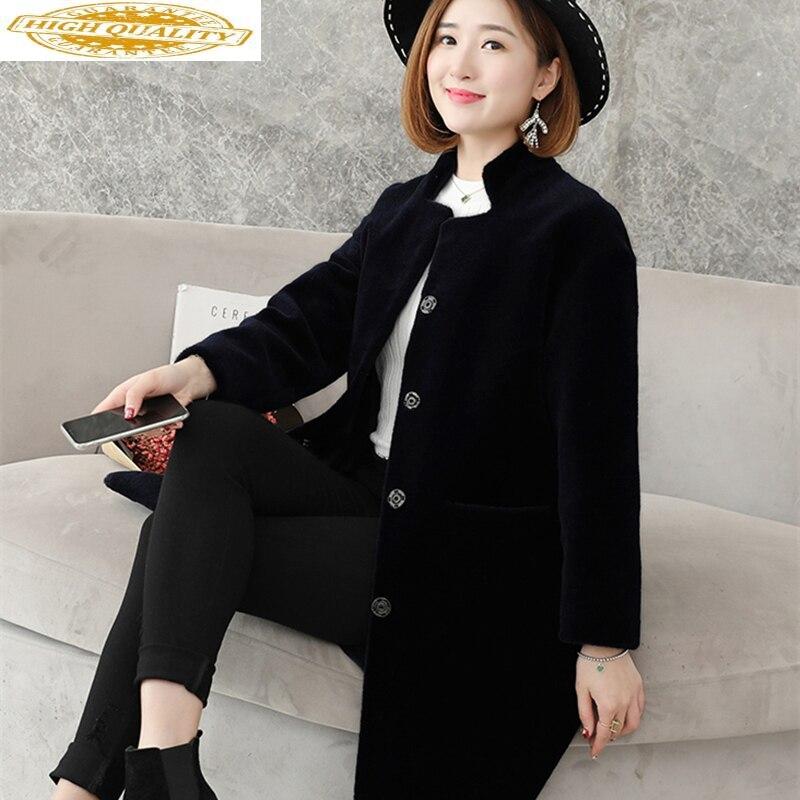 Plus Size Real Fur Wool Coat Women Winter Jacket Women Sheep Shearing Clothes Stand Collar Korean 5xl Abrigo Mujer KJ543