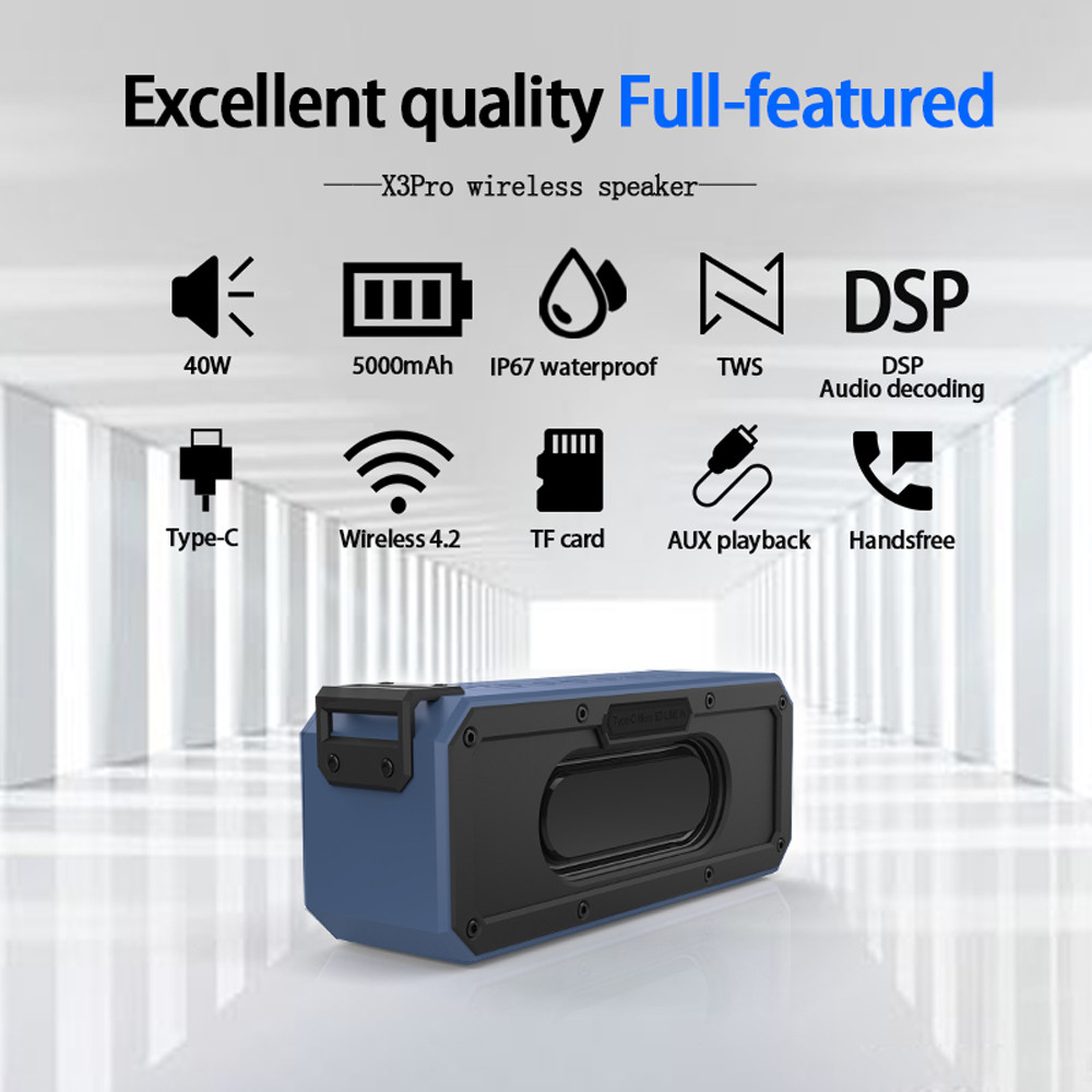 40W Bluetooth Speaker IP7X Waterproof Portable Column Speakr Super Bass Subwoofer Soundbar Support Micro SD Type-C USB Computer