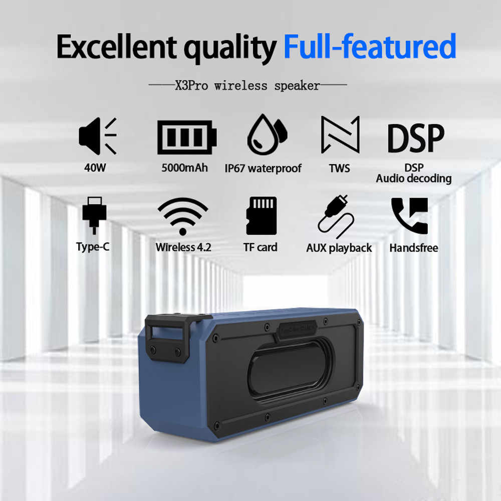 Głośnik Bluetooth 40W IP7X wodoodporny przenośny głośnik kolumnowy subwoofer ze wzmocnieniem basów Soundbar obsługa karty micro sd type-c komputer usb