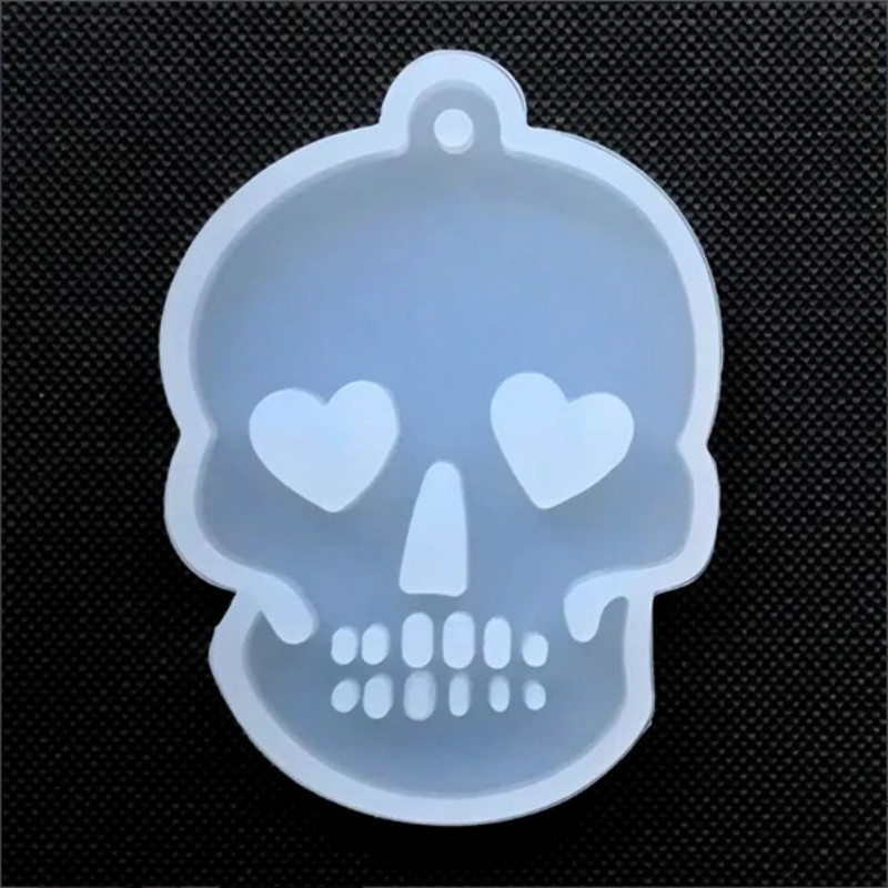 Skull With Heart Eye Silicone Mold Halloween Jewelry Making Clear Mold For UV Resin Epoxy Resin Mould Resin Jewelry Mold