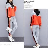 Autumn Women Warm Tracksuit Casual Patchwork Two Piece Sport Suit Hooded Zipper Sweatshirt And Letter Pant Plus Size 2 Pcs Set