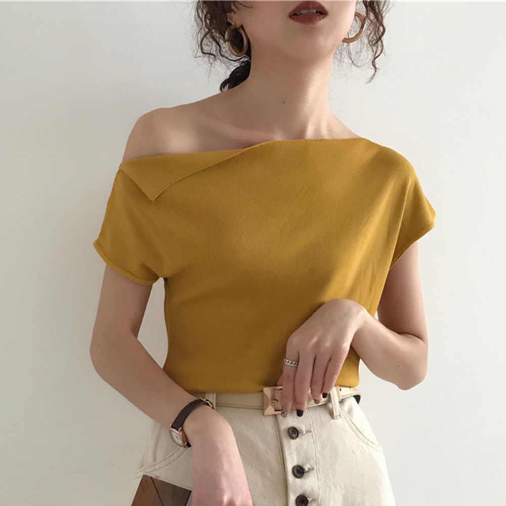 2020 Korea Rajutan Top Wanita T Shirt Musim Panas Seksi Satu Bahu Es Sutra Merajut Tshirt Kasual Street Chic Tee 7 Warna