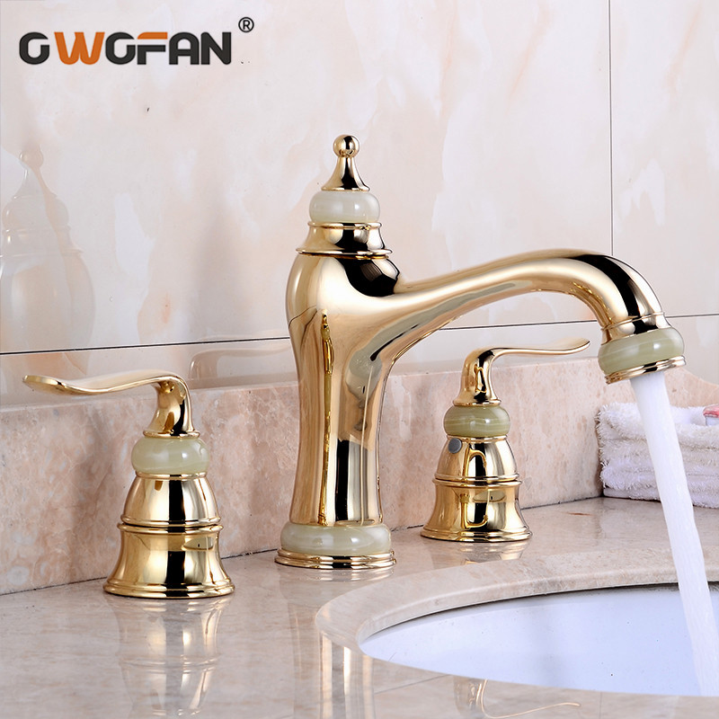 Basin Faucets Marble with Jade Bathroom Taps 3 Hole Classic Home Decoration Lavatory Crane Hot and Cold Mixer Faucet OWO-S79-32