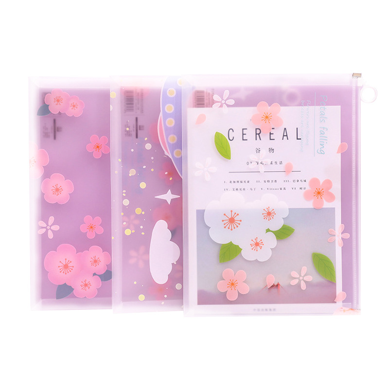 File Folder A4 Transparent Zipper File Bag Large Capacity Female Student With Stationery Storage Bag File Test Paper Folder