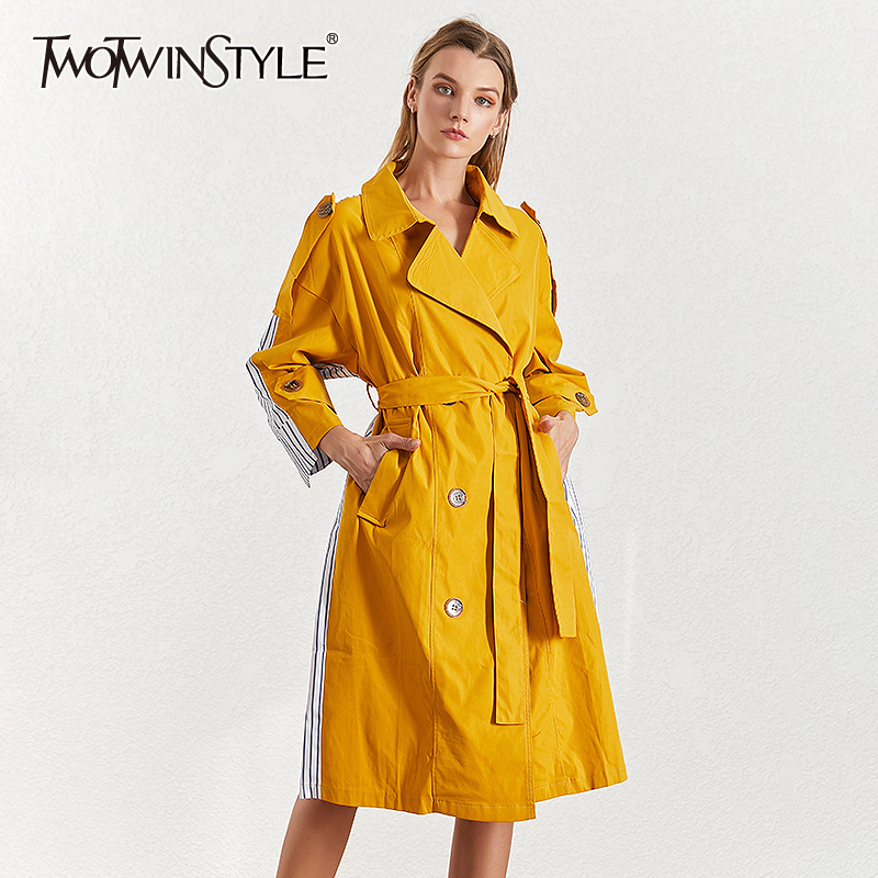 TWOTWINSTYLE Striped Women's Trench Lapel Collar Long Sleeve High Waist Lace Up Hit Color Patchwork Windrench Female 2020 Tide