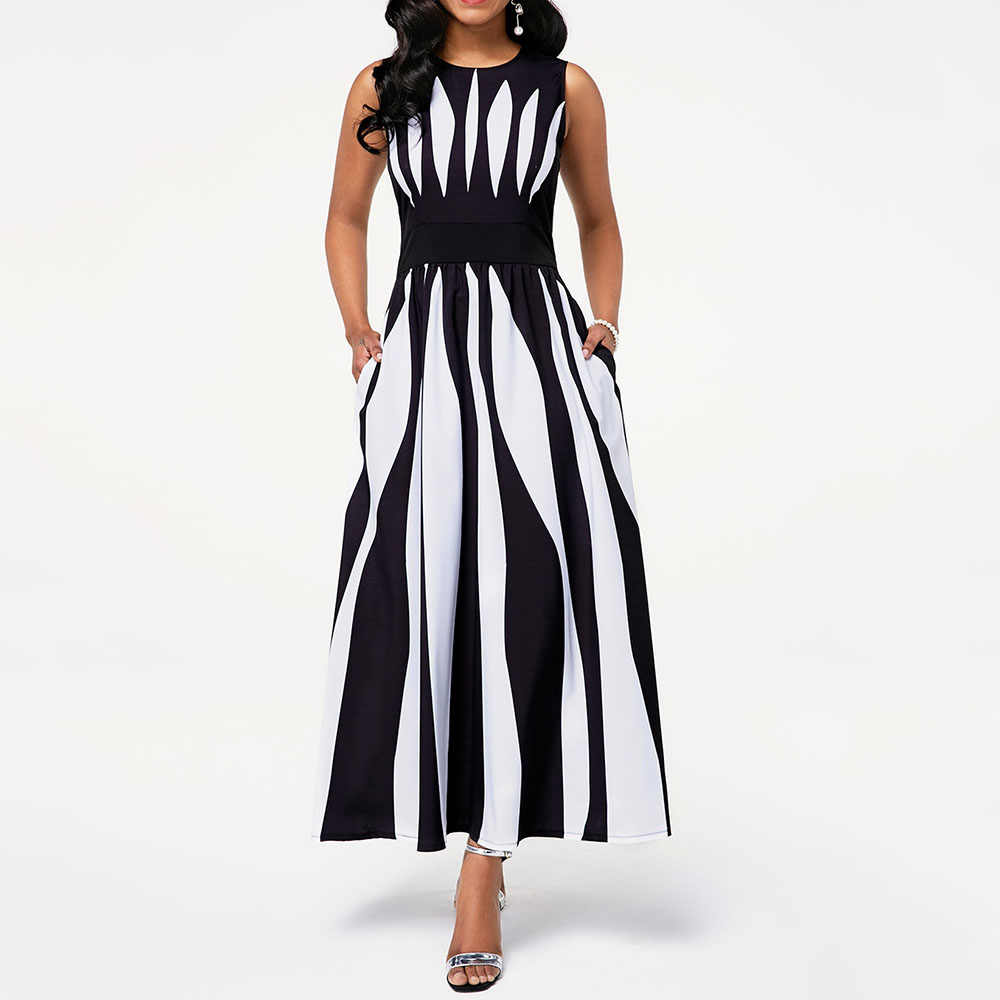 2020 Африканское черно-белое платье макси с высокой талией, Женская Туника без рукавов, Элегантное Длинное Платье для свадебной вечеринки