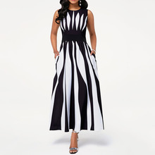 African 2020 High Waist Black White Color Block Maxi Dress Women Sleeveless Tuni