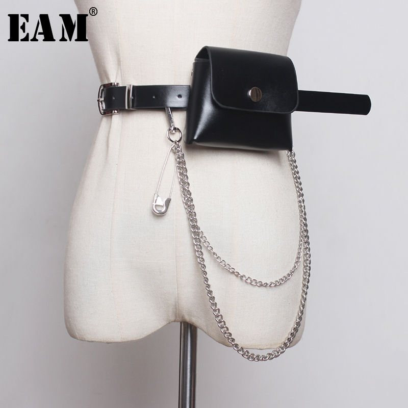 [EAM] Multicolor Chain Mini-bag Pu Leather Long Belt Personality Women New Fashion Tide All-match Spring Autumn 2020 1B375