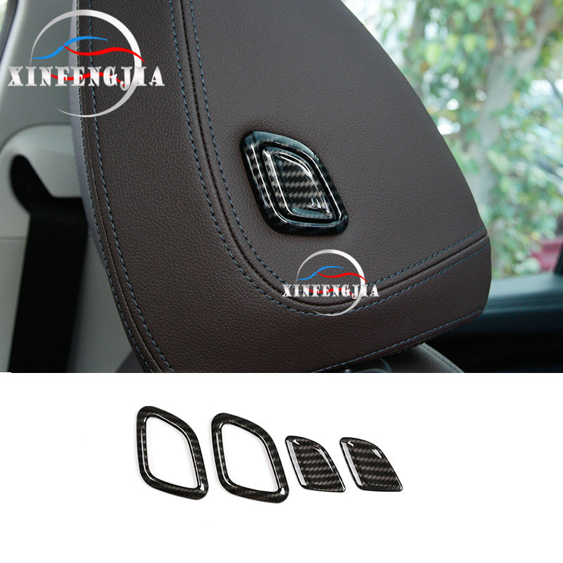 For <font><b>BMW</b></font> <font><b>X3</b></font> <font><b>G01</b></font> 18-19 X4 G02 2019 <font><b>Carbon</b></font> Fiber Color Seat Headrest Adjust Trim image