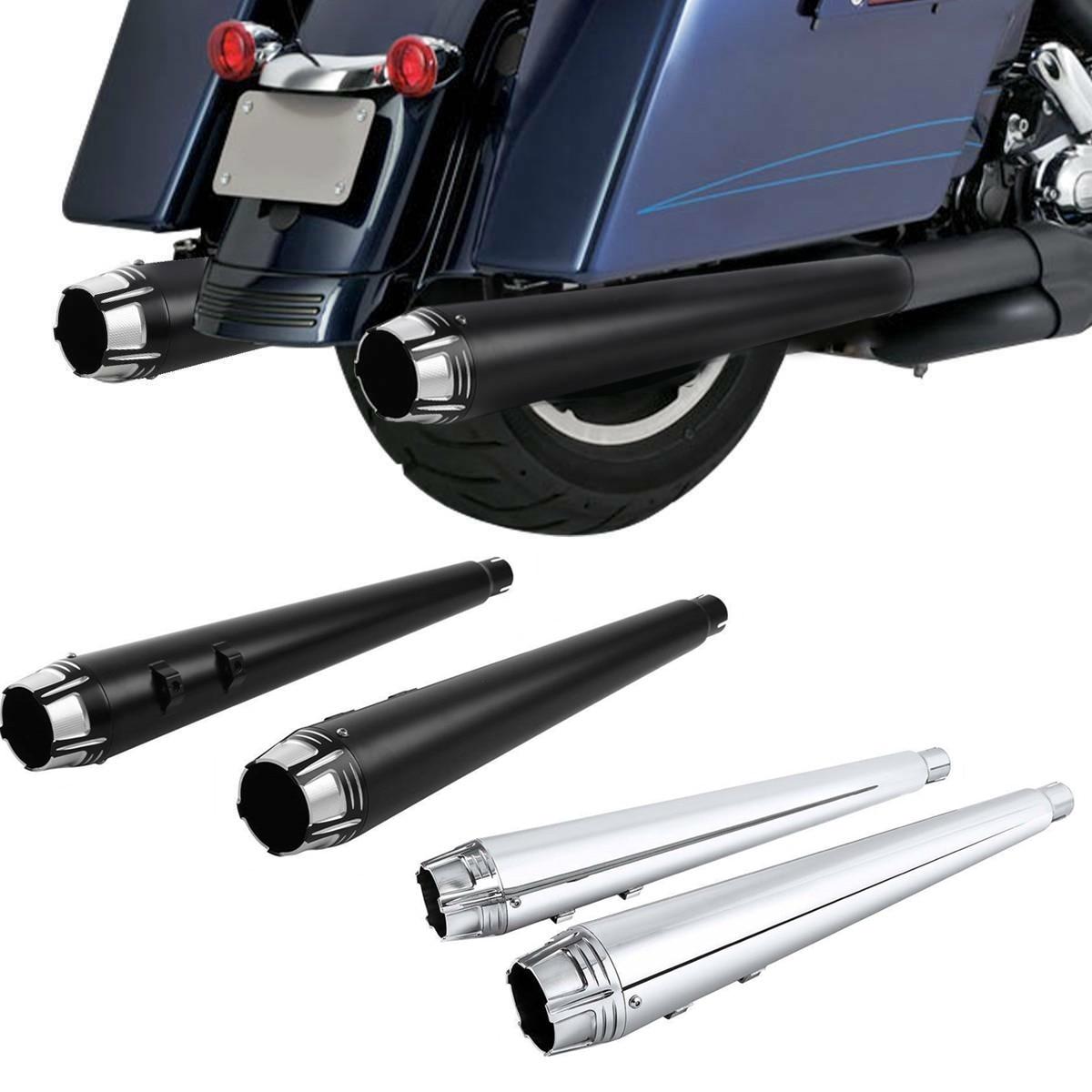 Black Megaphone Slip On Mufflers Exhaust Pipes Chrome Tips Harley Touring Bagger