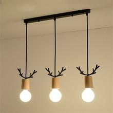 Antler Lamp Nordic Modern Led Pendant Light Dining Room Restaurant Cafe Wood Lights Fixtures Kitchen Hanging Lamps Home Decor