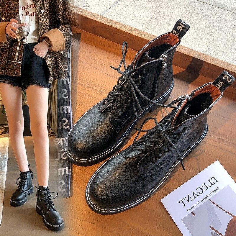 Black Boots Women Fashion Ankle Martin Autumn 2019 Lace Up Combat Leather