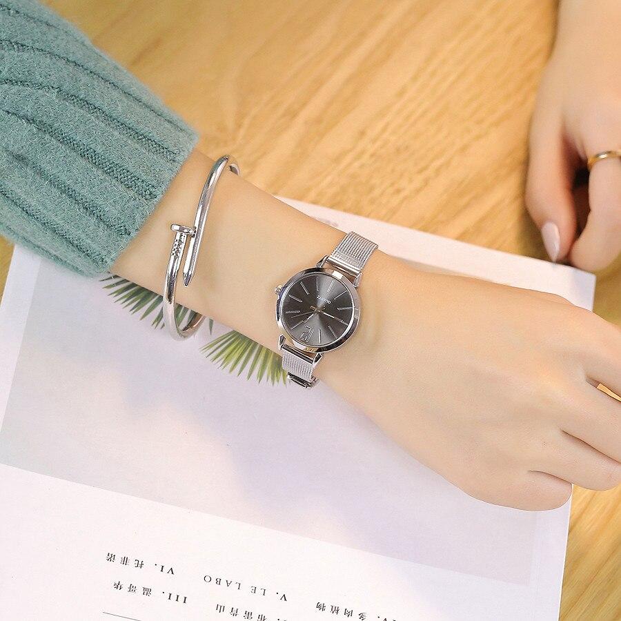 Vansvar, женские часы, круглый циферблат, роскошные серебряные часы, повседневные кварцевые часы из нержавеющей стали, браслет с мраморным реме...