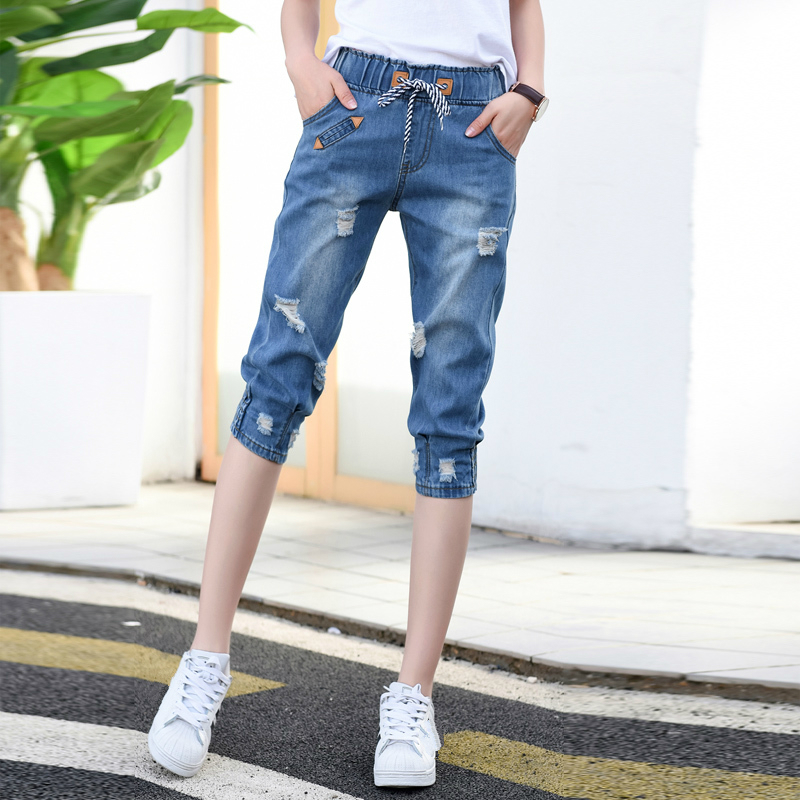 Women 2020 Summer Ripped Capris Jeans Woman Female Loose Calf-Length Denim Shorts Casual High Waist Harem Jeans Pants