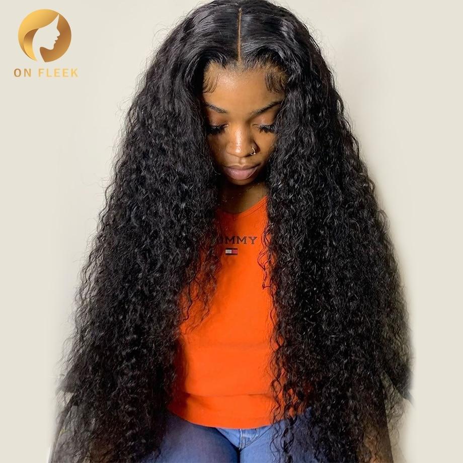 30 дюймов, волнистый парик с кружевом спереди, короткий Боб, глубокие кудрявые человеческие волосы, бразильские парики для черных женщин, 13x4, ...