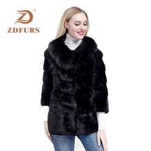 ZDFURS* whole skin rex rabbit fur coat female winter new big fox collar long paragraph nine-point sleeve  jacket