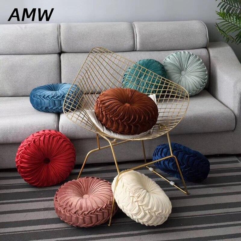 Almohada para el sofá decorativa de calabaza redonda, cojín de asiento trasero para silla, almohada redonda para sala de estar de Color puro de estilo europeo