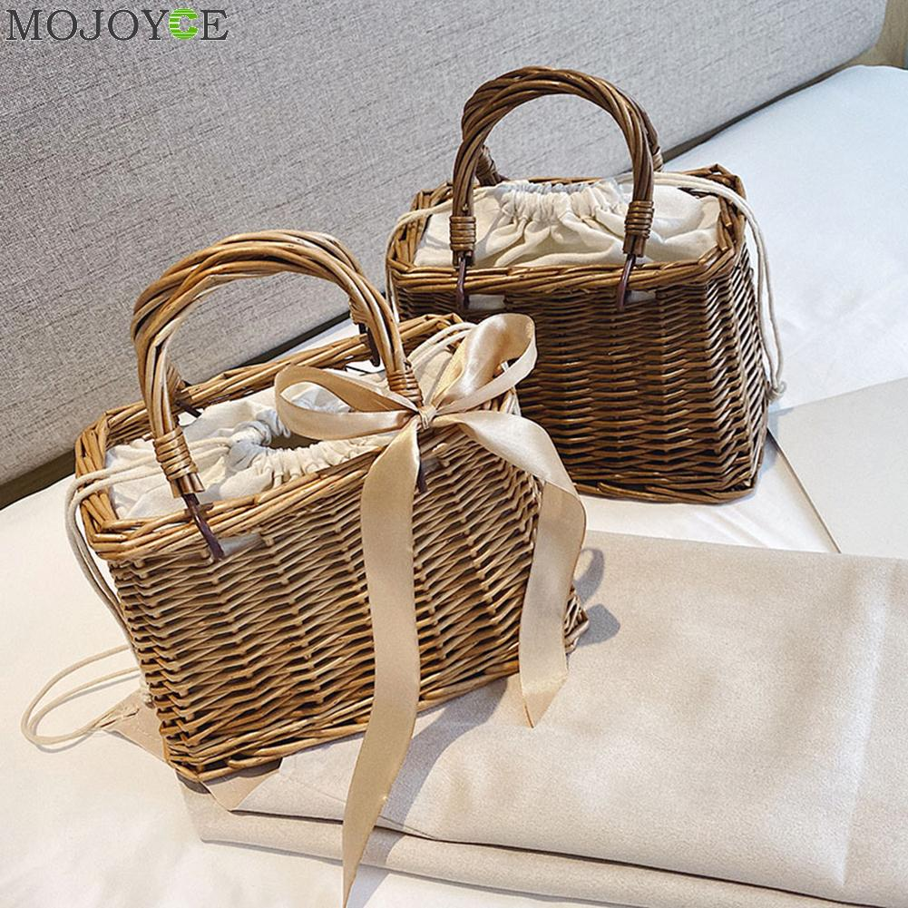 Handmade Woven Straw Bag Women Basket Totes Summer Bohemian Beach Ladies Rattan Knit Handmade Kintted Crossbody Tote
