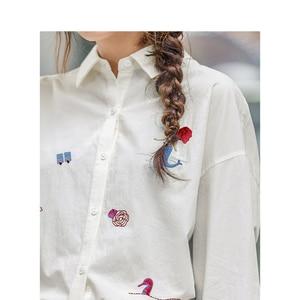 Image 4 - INMAN 2020 ربيع جديد وصول الأدبية ضئيلة 100% القطن التطريز طويلة الأكمام المرأة قميص