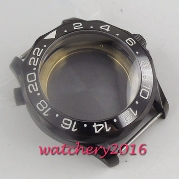 41mm PVD Coated Watch Case black Ceremic Bezel Fit for MIYOTA 8215 Automatic Movement
