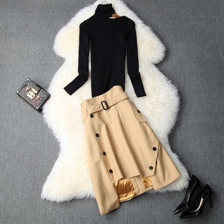 European And American Women's Clothing 2019 Winter New Style Long Sleeve Turtleneck An Off-the-shoulder Knit Sweater Skirt Suit