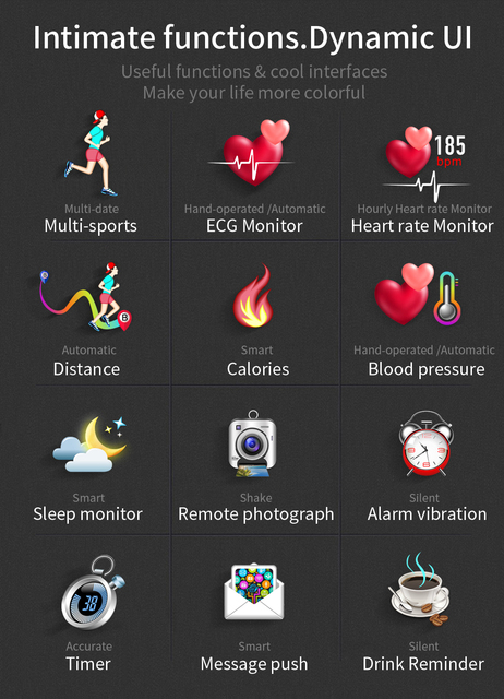 MAFAM MX9 ECG Smart Watch Blood Pressure PPG Heart Rate Blood Pressure Monitor Multi-languages Smartwatch Clock For Men Women