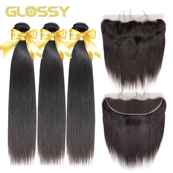 Brazilian Straight Hair 3 Bundles With Closure Remy Human Hair Bundles With 13X4 Transparent Lace Closure Hair Weave Extension yyong straight hair bundles with closure brazilian hair weave 3 bundles remy human hair bundles with closure hair extension